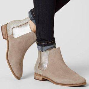 Toms Ella Desert Taupe Suede Metallic Ankle Boot